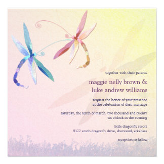 Colorful Dragonfly Couple Spring Wedding Invites