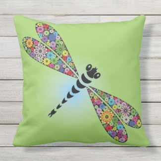 Colorful Dragonfly Design Outdoor Throw Pillow