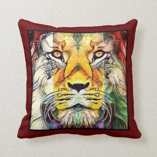 Colorful Dramatic Lion Wildlife Digital Pop Art Throw Pillow