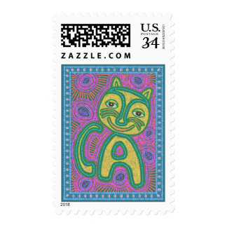 Colorful Dreamland Cat Postage Stamps