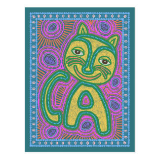 Colorful Dreamland Cat Postcard