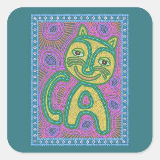 Colorful Dreamland Cat Square Sticker