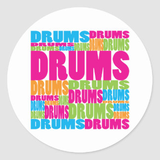 Colorful Drums Classic Round Sticker