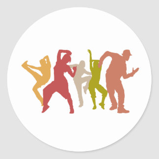 Colorful Dubstep Dancers Classic Round Sticker