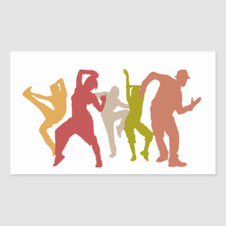 Colorful Dubstep Dancers Rectangular Sticker