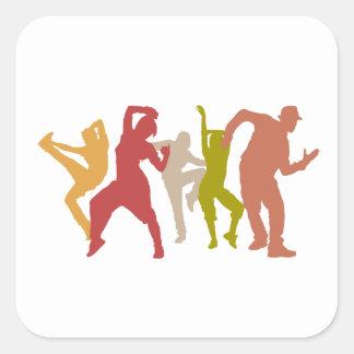 Colorful Dubstep Dancers Square Sticker