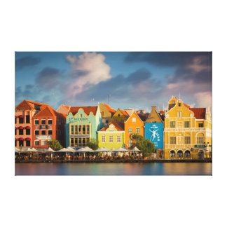 Colorful Dutch architecture lines the wharf Canvas Print