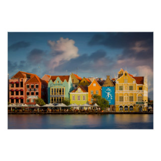 Colorful Dutch architecture lines the wharf Poster