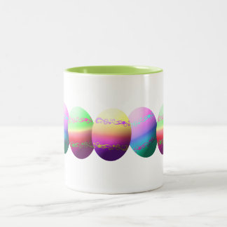 Colorful Dyed Easter Eggs Two-Tone Coffee Mug