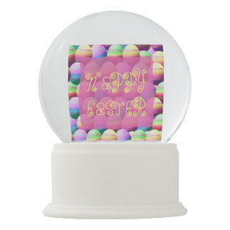 Colorful Dyed Eggs Happy Easter Snow Globe