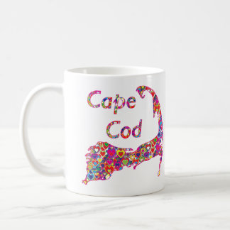 Colorful Dynamic Heart-Filled Map of Cape Cod Coffee Mug
