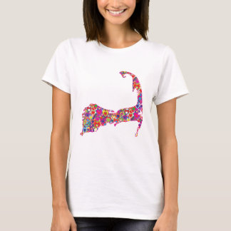 Colorful Dynamic Heart-Filled Map of Cape Cod T-Shirt