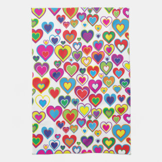 Colorful Dynamic Rainbow Hearts in Hearts Pattern Hand Towel