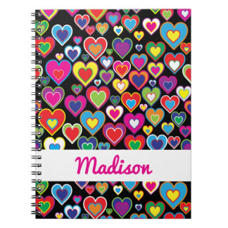 Colorful Dynamic Rainbow Hearts in Hearts Pattern Notebook