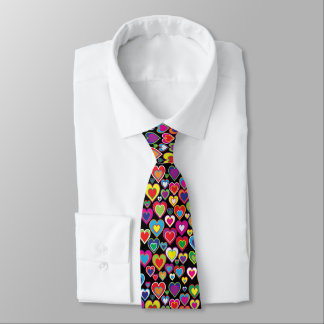 Colorful Dynamic Rainbow Hearts in Hearts Pattern Tie
