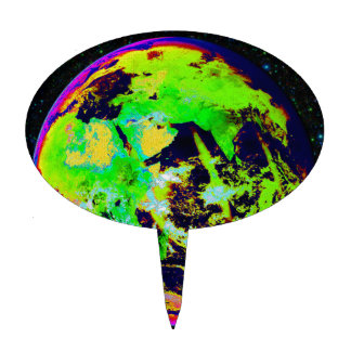 Colorful Earth From Space. Cake Topper