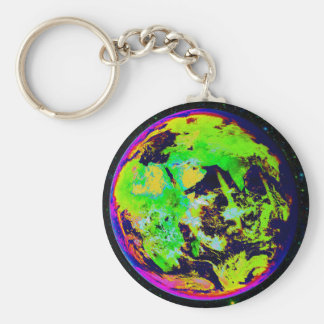 Colorful Earth From Space. Basic Round Button Keychain