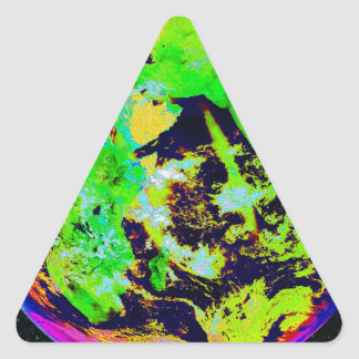 Colorful Earth From Space. Triangle Sticker