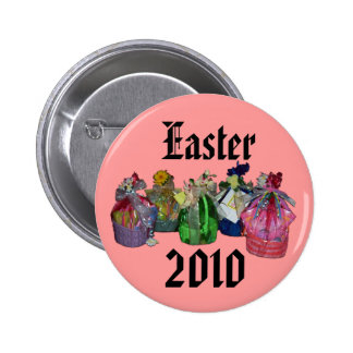 Colorful Easter Baskets Design Button
