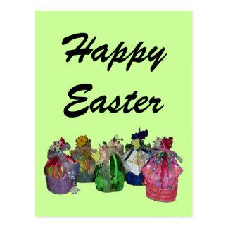 Colorful Easter Baskets Design Postcard