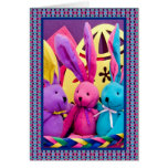 Colorful Easter Bunnies I Greeting Card