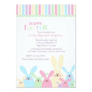 Colorful Easter Bunnies Invitation