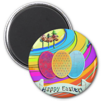 Colorful Easter Eggs and Bunny Rabbits 2 Inch Round Magnet