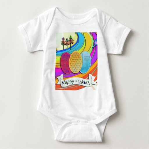 Colorful Easter Eggs and Bunny Rabbits Baby Bodysuit