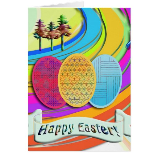 Colorful Easter Eggs and Bunny Rabbits Card