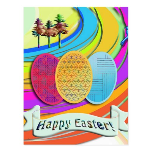 Colorful Easter Eggs and Bunny Rabbits Post Cards