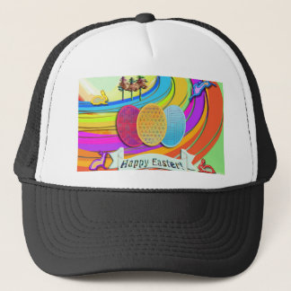 Colorful Easter Eggs and Bunny Rabbits Trucker Hat