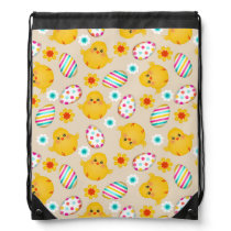 Colorful Easter Eggs and Chicks Pattern Drawstring Bag