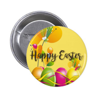 Colorful Easter Eggs and Flowers Pinback Button