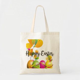 Colorful Easter Eggs and Flowers Tote Bag