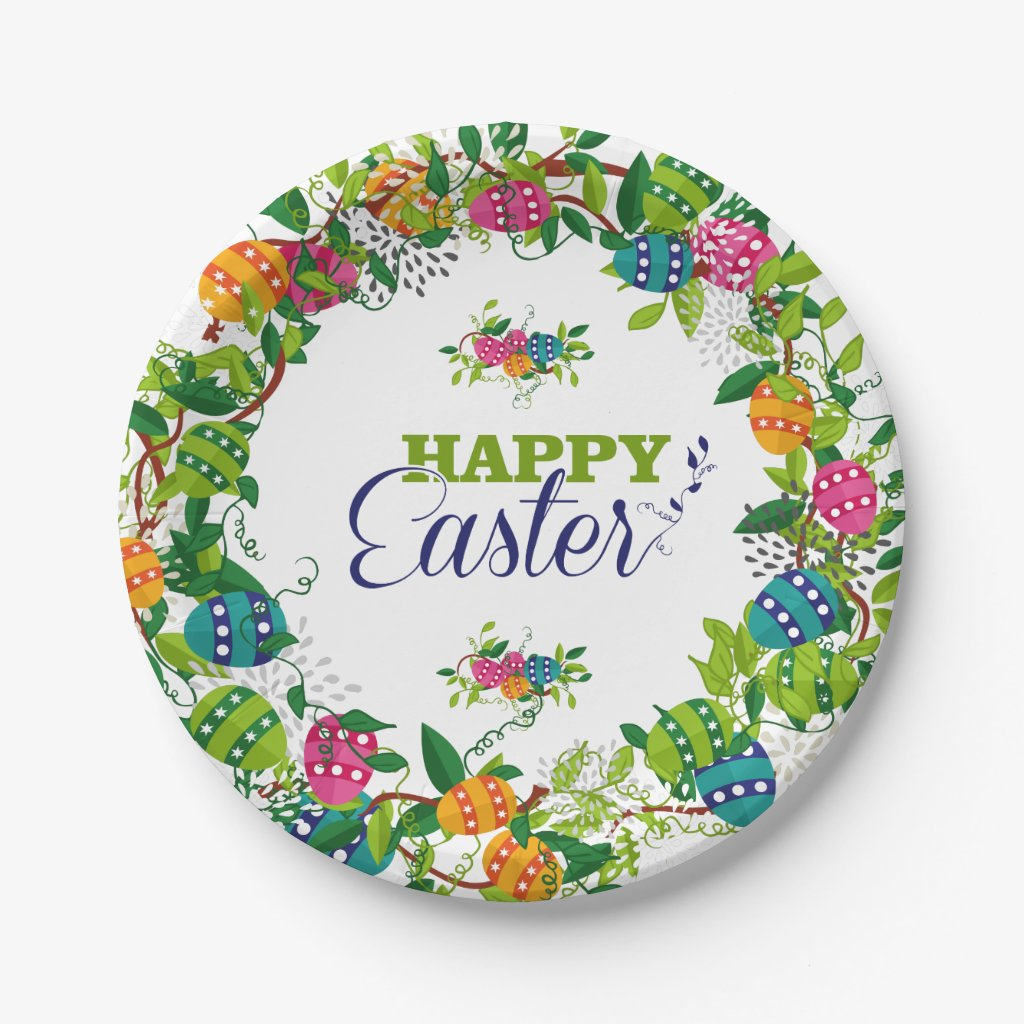 Colorful Easter Eggs And Flowers Wreath Paper Plate