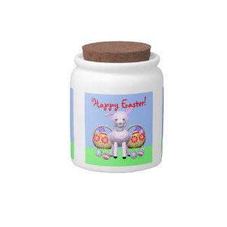 Colorful Easter Eggs and Lamb Candy Jar