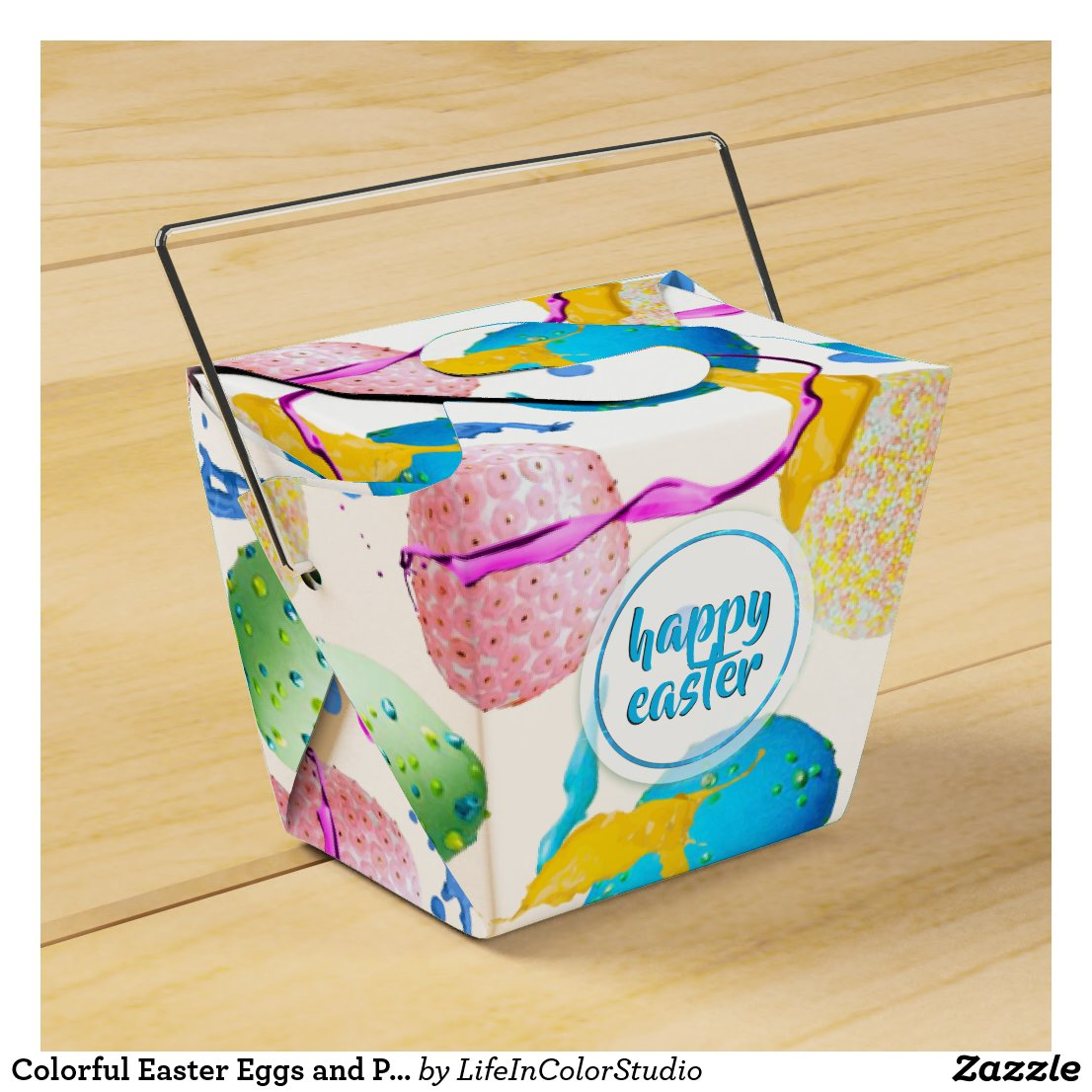 Colorful Easter Eggs and Paint Splash Favor Box