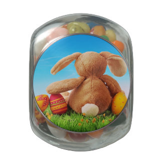 Colorful Easter Eggs and Rabbit on Green Grass Jelly Belly Candy Jar