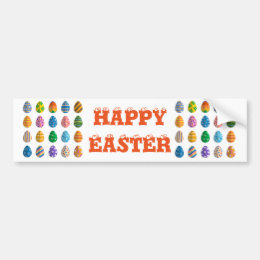 Colorful Easter Eggs Bumper Sticker