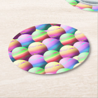 Colorful Easter Eggs Coasters Round Paper Coaster