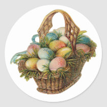 Colorful Easter Eggs Fill a Vintage Easter Basket Classic Round Sticker