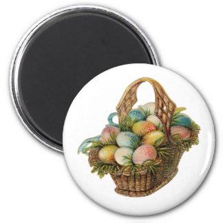 Colorful Easter Eggs Fill a Vintage Easter Basket Magnet