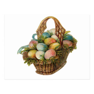 Colorful Easter Eggs Fill a Vintage Easter Basket Postcard