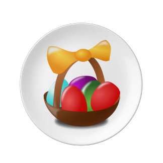 Colorful Easter eggs in a basket cartoon Porcelain Plates