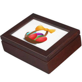 Colorful Easter eggs in a basket cartoon Memory Box