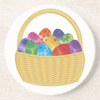 Colorful Easter Eggs in Basket Coaster