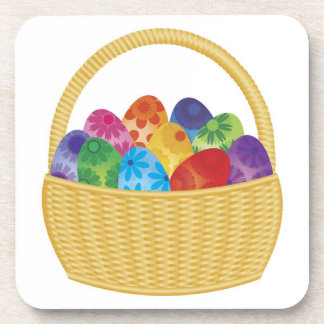 Colorful Easter Eggs in Basket Cork Coaster