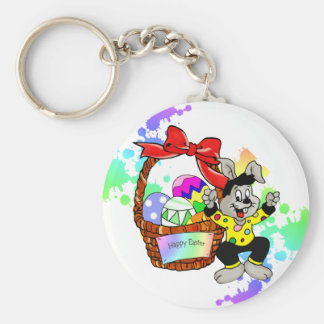 Colorful Easter eggs in basket easter bunny Keychain