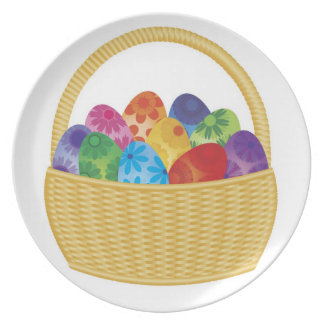 Colorful Easter Eggs in Basket Plate