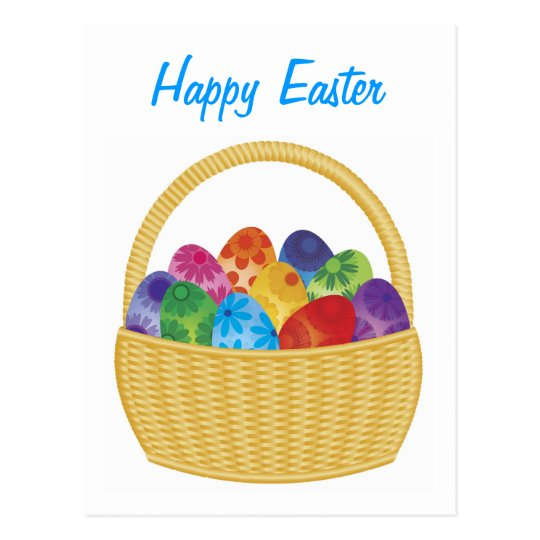 Colorful Easter Eggs in Basket Postcard